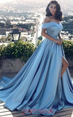 Sky Blue Charmeuse Off The Shoulder A-line Long Celebrity Dress(JT3698)