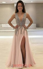 Blushing Pink Chiffon V-neck A-line Floor-length Celebrity Dress(JT3701)