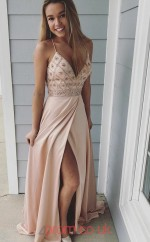 Pearl Pink Satin Chiffon V-neck A-line Floor-length Celebrity Dress(JT3702)