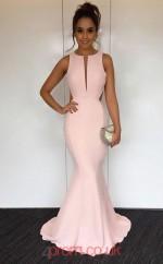 Blushing Pink Satin Jewel Trumpet/Mermaid Floor-length Celebrity Dress(JT3708)