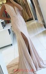 Light Champange Satin Chiffon V-neck Trumpet/Mermaid Long Celebrity Dress(JT3710)