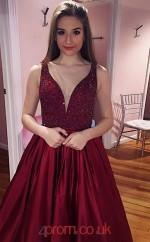 Burgundy Stretch Satin V-neck A-line Long Celebrity Dress(JT3726)