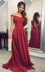 Burgundy Taffeta Off The Shoulder A-line Long Celebrity Dress(JT3735)