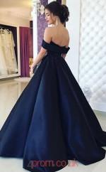 Navy Blue Satin Off The Shoulder Short Sleeve Princess Long Celebrity Dress(JT3757)