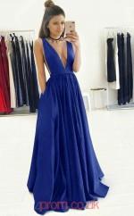 Royal Blue Taffeta V-neck A-line Long Sex Prom Dress(JT3772)