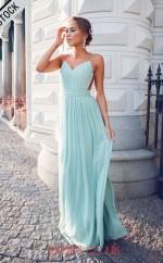 Light Blue Chiffon V-neck Straps A-line Long Celebrity Dress(JT3776)