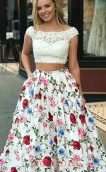 Multipatterned Satin Lace Bateau Short Sleeve Princess Long Two Piece Prom Dress(JT3787)