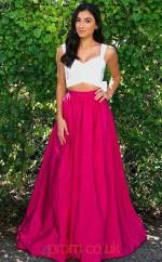 Fuchsia Taffeta Straps A-line Long Two Piece Prom Dress(JT3791)