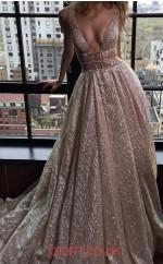Champange Lace V-neck A-line Long Sex Prom Dress(JT3797)