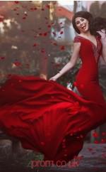 Red Spandex Trumpet/Mermaid V-neck Short Sleeve Floor-length Evening Dress(JT3807)