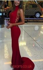 Red Spandex Trumpet/Mermaid V-neck Sweep Train Sex Prom Dress(JT3808)