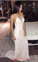 Ivory Lace Sheath/Column V-neck Sweep Train Sex Prom Dress(JT3811)
