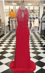 Light Burgundy Chiffon Sheath/Column Halter Sweep Train Evening Dress(JT3816)