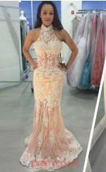 Light Champange Lace Trumpet/Mermaid Halter Floor-length Sex Prom Dress(JT3821)
