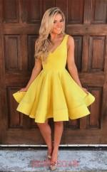 Yellow Satin Chiffon A-line V-neck Mini Cocktail Dress(JT3858)