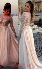 Beige Chiffon A-line Bateau Long Sleeve Long Plus Size Dresses(JT3919)