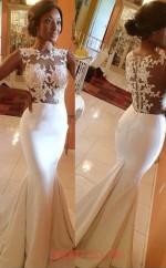 Ivory Taffeta Lace Trumpet/Mermaid Illusion Long Evening Dresses(JT3953)
