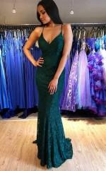 Fashion Green Lace Lace-up Mermaid Prom Evening Dress  JTA0341