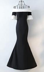 Mermaid Black And White Off Shoulder Long Prom Dress JTA6961