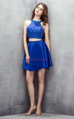 Light Royal Blue Taffeta Sequined A-line Jewel Sleeveless Two Piece Prom Dresses(JT4-LFDZD153)
