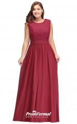 Burgundy Long  Jewel Bridesmaid/Party Dresses PPBD004