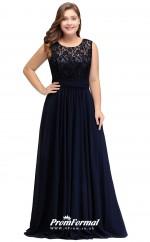 Navy Blue Long  Illusion Bridesmaid/Party Dresses PPBD006