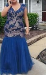 Royal Blue Lace Tulle Trumpet/Mermaid V-neck Short Sleeve Floor-length Plus Size Prom Dress(PRPSD04-096)
