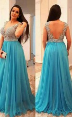 Pool 30D Chiffon A-line V-neck Short Sleeve Floor-length Plus Size Prom Dress(PRPSD04-101)