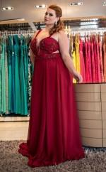 Burgundy Chiffon A-line V-neck Sleeveless Floor-length Plus Size Prom Dress(PRPSD04-102)