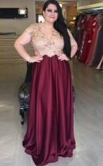 Grape Charmeuse Lace A-line V-neck Short Sleeve Floor-length Plus Size Prom Dress(PRPSD04-103)