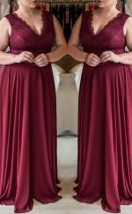 Dark Burgundy Chiffon A-line V-neck Sleeveless Floor-length Plus Size Prom Dress(PRPSD04-113)