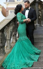 Sea Green Lace Trumpet/Mermaid V-neck 3/4 Length Sleeve Floor-length Plus Size Prom Dress(PRPSD04-118)