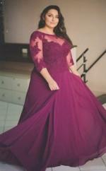 Dark Fuchsia Lace Chiffon A-line Illusion Half Sleeve Floor-length Plus Size Prom Dress(PRPSD04-119)