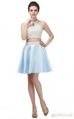 Sky Blue Taffeta A-line Halter Sleeveless Two Piece Prom Dresses(JT4-SH0067)