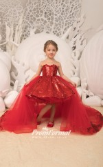 New Sparkle Sequins Kids Girls Pageant Dress Removable Tulle Train Hi Lo Kids Christmas Birthday Party Dress with Bow CHK180