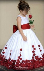 Ball Gown Flower Girl Dresses for Weddings Party Wine Red with Bows Sweep Train Crew Little Girls Pageant Dress First Communion Dresses FGD449