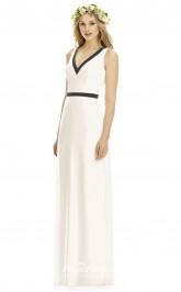 DASUK8173 Plus Sides A Line V Neck Ivory Chiffon With Open Back Bridesmaid Dresses