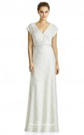 DASUKJY525 Plus Sides Sheath V Neck Beige 91 Lace With Mid Back Bridesmaid Dresses