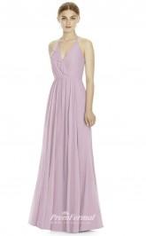 DASUKJY534 Plus Sides A Line V Neck Purple Pink 57 Chiffon With Strappy Bridesmaid Dresses