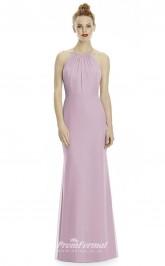 DASUKLR239 Plus Sides Mermaid/Trumpet Halter Purple Pink 57 Chiffon With Covered Back Bridesmaid Dresses