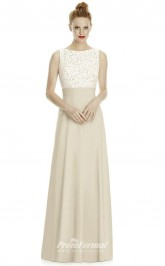 DASUKLR240 Plus Sides A Line Boat/Bateau Champagne 64 Lace Satin Chiffon With Low Back Bridesmaid Dresses