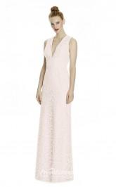 DASUKLR241 Plus Sides A Line V Neck Pink Lace With Open Back Bridesmaid Dresses