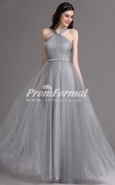 EBD017 Halter Silver Bridesmaid Dresses