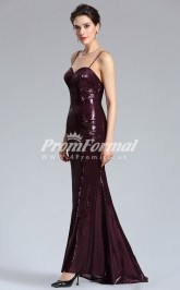 EBD024 Sequined Straps Grape Bridesmaid Dresses