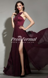 EBD026 Halter Burgundy Bridesmaid Dresses