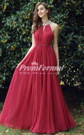 EBD029 Halter Burgundy Bridesmaid Dresses
