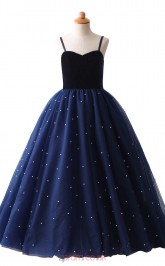 Navy Blue Tulle Princess Floor-length Kid's Prom Dresses with Straps(HT23)