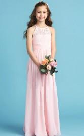 Simple Pink Chiffon Halter Kids Bridesmaid Dress Flower Girl Dress JFGD018