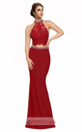 Burgundy Lace Satin Chiffon Mermaid Halter Long Two Piece Prom Dress(JT3567)