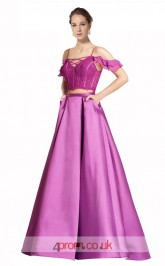 Dark Lilac Satin A-line Off The Shoulder Short Sleeve Floor Length Two Piece Prom Dress(JT3634)